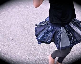 Patchwork Skirt in dark blue