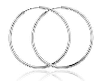 Large hoop earrings, sterling silver