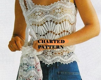 Crochet pattern Instant DOWNLOAD Ladies Camisole Filet Top and Purse Charted Vintage style