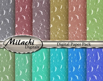 60% OFF SALE Rain Drops Digital Paper Pack, Scrapbook Papers - Commercial Use - Instant Download - M112