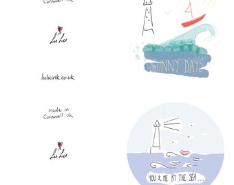 Pack Of Seven Coastal Cards Designed By LuLuInk, St Ives, Cornwall