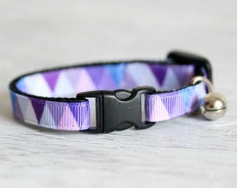 Purple Blue Cat Collar Colorful Triangle Cat Collar Geometric Cat Collar Triangle Cat Collar Lilac Collar Breakaway Buckle Collar Pet Collar