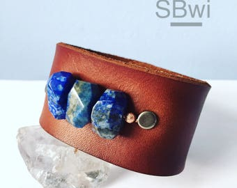 Genuine leather adjustable cuff bracelet with lapis and copper detail
