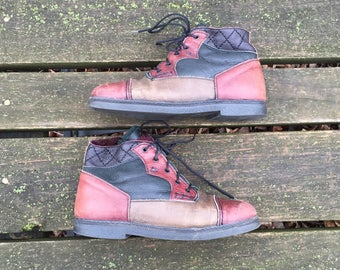 Boots - Size 8 Leather Patchwork Ankle Boots Granny Booties Lace up Tie Lined Boho Clarks Womens Size 39