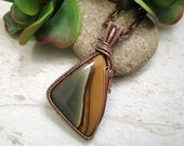 Wire Wrapped Pendant - Valentine's Day - 7th Anniversary Present - Picture Jasper - Most Sold Item - Fearless Creations