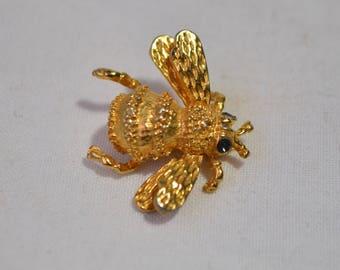 Vintage 18K Gold Plated Black Enamel Bumblebee Bee Brooch Pin