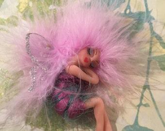 FAIRY, FAERIE, Handmade Polymer Clay Art Doll Sleeping Lilac