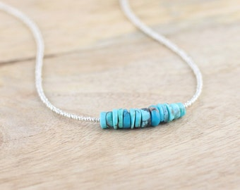 Sleeping Beauty Turquoise Necklace in Sterling Silver or Gold Filled. Beaded Choker. Dainty Seed Bead Layering Necklace. Gemstone Jewellery