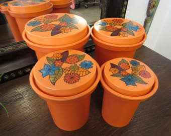Vintage Orange Floral Rubbermaid Plastic Canister Set