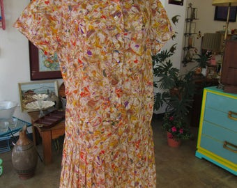 Vintage Floral Pleated Skirt Dress Size M