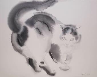 Looking back Little tuxedo cat, Cat Art, Tuxedo Cat Painting, Watercolor Cat Painting, Original Art Cat, Original Watercolor Painting