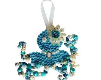 Blue Seashell Octopus Ornament
