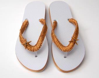 Ribbon covered wedding flip flops, starfish sandals, beach wedding shoes, bride sandals, white, gold, navy, nautical seashells women sandals