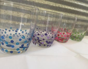 handpainted drinking glass set of 4
