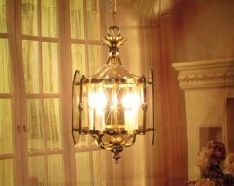 Antique Vintage Chandelier Pendant Lantern Glass Fixture 4 Lights