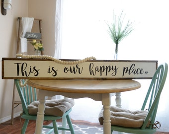 This Is Our Happy Place Sign | Farmhouse Sign | Farmhouse Decor | Happy Place | Framed Sign | Wood Sign | Rustic Decor | Rustic Sign |Rustic