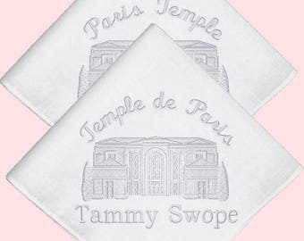 Paris France (English or French) Temple Embroidered Embroidered Straight Edge Handkerchief