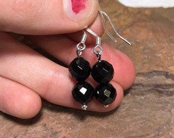 Jet Gemstone Dangle Earrings