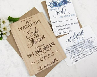 Blue Floral Wedding Invitation Set with Lace | Custom Rustic Invitation, Laser Cut Invitation, Engraved Invitation, Real Wood Invitation