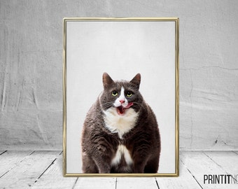 Cat Print, Nursery Animal Decor Wall Art, Cat Art, Large Printable Poster, Digital Download, Modern Minimalist Decor