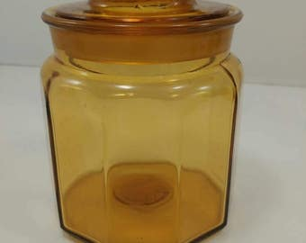 L.E. Smith Line #2114 Amber Yellow Honey Paneled Glass Canister Apothecary Jar