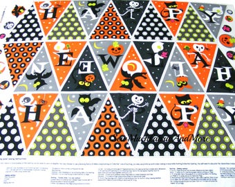 Happy Happy Halloween Cut N Sew Bunting Fabric Panel~cotton~crafts~ghosts~pumpkins~cats~skeletons