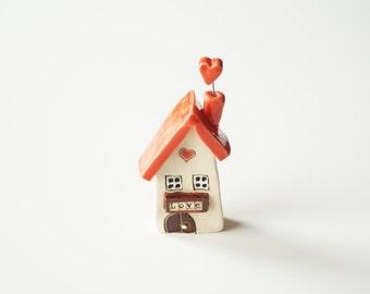 Ceramic Love House Miniature House I Love my Home Decor Small House