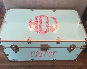Lilly Pulitzer Inspired Monogram and Name Summer Camp Footlocker Trunk Decals