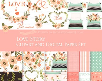 30% off Love Story Mint and Peach Clip Art + Digital Paper Set  / Mint Typewriter - Instant Download