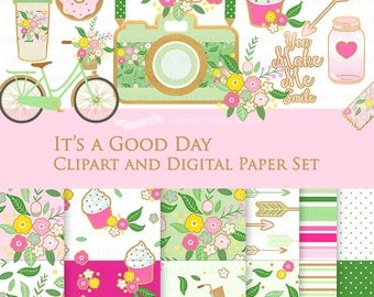 20% off It's a Good Day Green,Pink Clip Art + Digital Paper Set / Diary, Planner, Scrapbook Elements / Camera, Bicycle - Instant Download