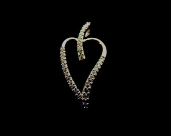 Womens Sterling Silver Heart Pendant w/ Diamond Cut CZ Crystals 1.6g #E2691