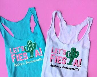 Let's Fiesta Tank, Cactus Tank, Cactus Bachelorette Tank, Cactus Tee, Beach Tank, Cactus Shirt, Bridesmaid Racerback Tank Top Couture Kitten