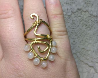 Peach Moonstone & Brass Ring Size 8.75