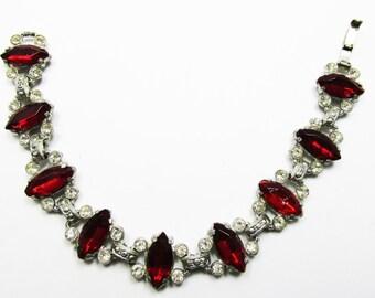 Splendid Vintage 1910s Pot Metal Clear and Ruby Red Rhinestone Bracelet
