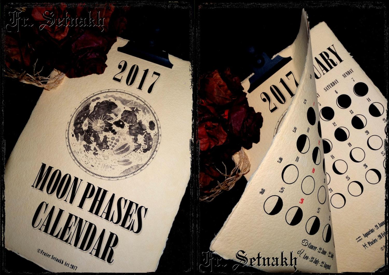 2018 Calendar Moon Phases Calendar Lunar Calendar vintage