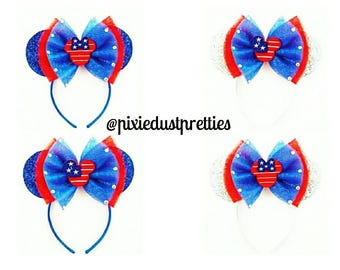 Patriotic Mouse ears, 4th of July,  minnie ears, mickey ears, minnie mouse, mickey mouse, flag