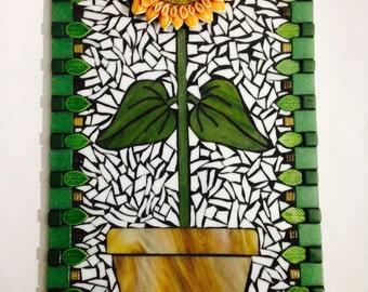 Flower Mosaic - Sunflower Art - Glass  on Glass - Mixed Media Mosaic