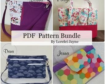 4 PDF Sewing Pattern bundle. Bag, wallet and wristlet, purse.
