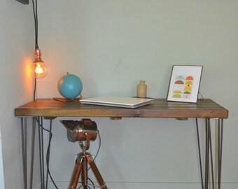 Industrial Writing Desk Mid Century Modern Style hairpin Legs