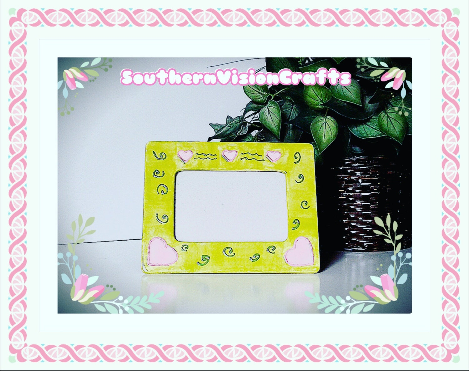Picture Frame Photo Frame Pink Hearts Green Pink Picture Frame