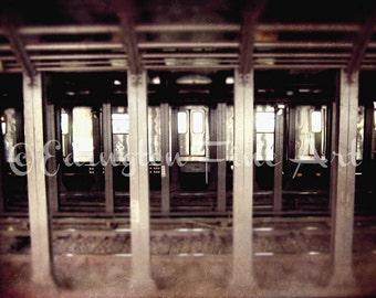New York City Subway Art, New York City Subway, subway photo, travel photography, urban decor, bronze, sepia, NYC photography, home decor