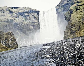 Skogafoss, Iceland art, Iceland Photography, travel photography, waterfall photo, Iceland, blue, green, nature photography, waterfall