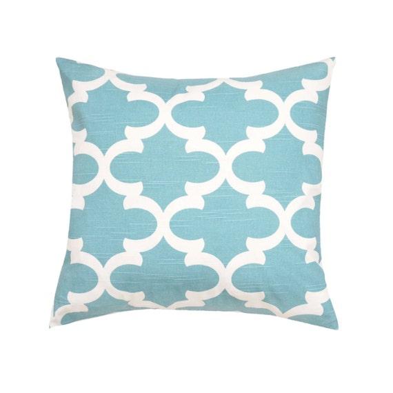 Light Blue Throw Pillow Cover.Quartrefoil Pillow.Moroccan