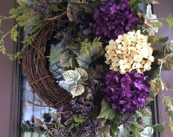 Hydrangea Wreath,  Summer Wreath, Spring Wreath, Purple Wreath, Front Door Wreath,