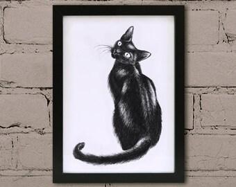 Framed cat print. Black cat wall art. Monochrome black ink art. Ink cat illustration. Lucky cat art frame.