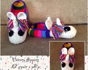 Crocheted Unicorn slippers