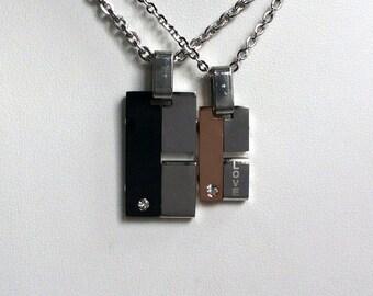 2PCs His and Her Necklaces, Custom Necklaces, Personalized Necklaces, Titanium Necklaces, Couples Necklaces, Couples Necklace