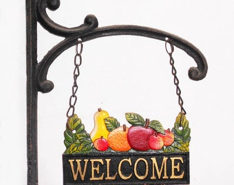 Cast Iron Welcome Sign Fruit Salad Cafe Restaurant Shop Decor