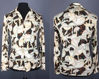 70's Disco Shirt.......70's Poly Deco Print Disco Shirt