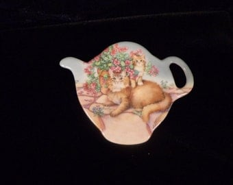 Kitty Cat Design Tea Bag Holder from ITALY made of Melamine, Kittens Tea Bag Holder Made IN Italy